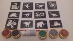Snake & dinosaur glitter tattoo set for boys  including stencils + 5 pots of color +  glue   children   present   Fund Raising